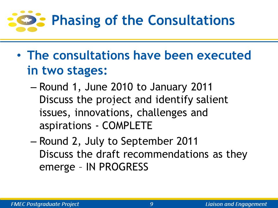 Phasing of the Consultations The consultations have been executed in two stages: – Round 1, June 2010 to January 2011 Discuss the project and identify