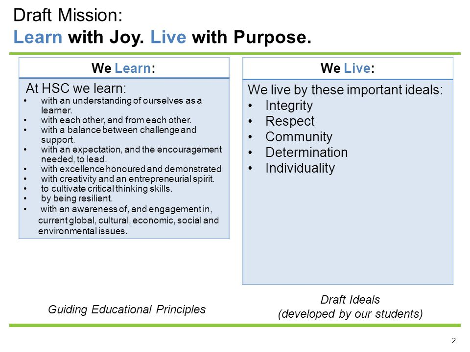 2 Draft Mission: Learn with Joy.Live with Purpose.
