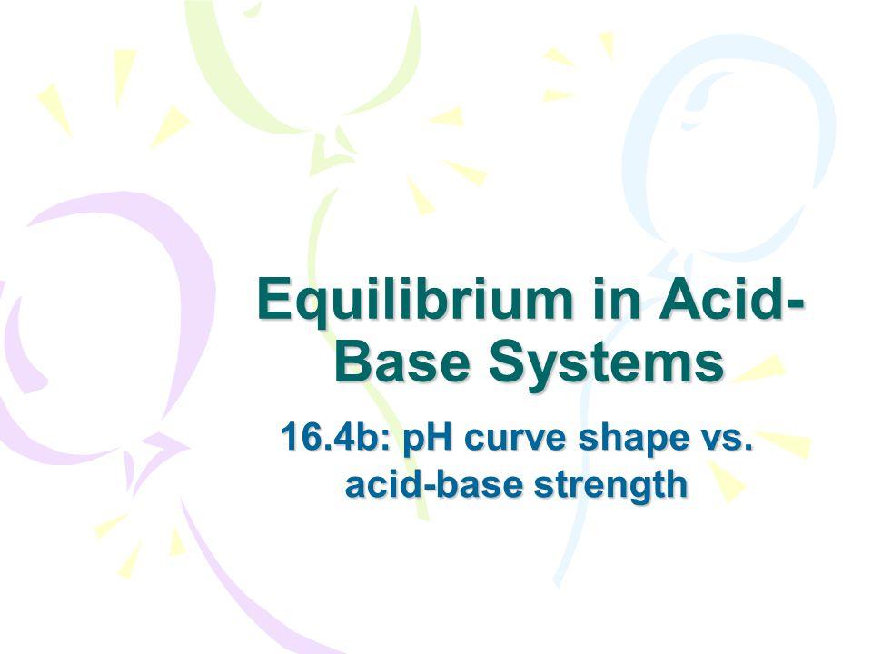 Equilibrium in Acid- Base Systems 16.4b: pH curve shape vs. acid-base strength