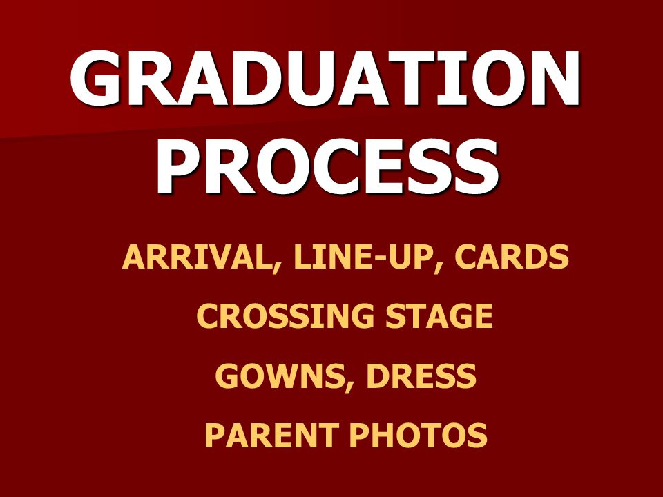GRADUATION PROCESS ARRIVAL, LINE-UP, CARDS CROSSING STAGE GOWNS, DRESS PARENT PHOTOS