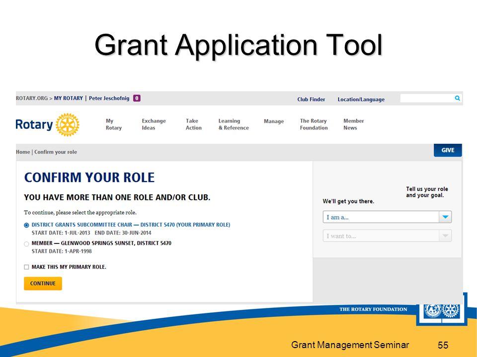 Grant Management Seminar Grant Application Tool 55