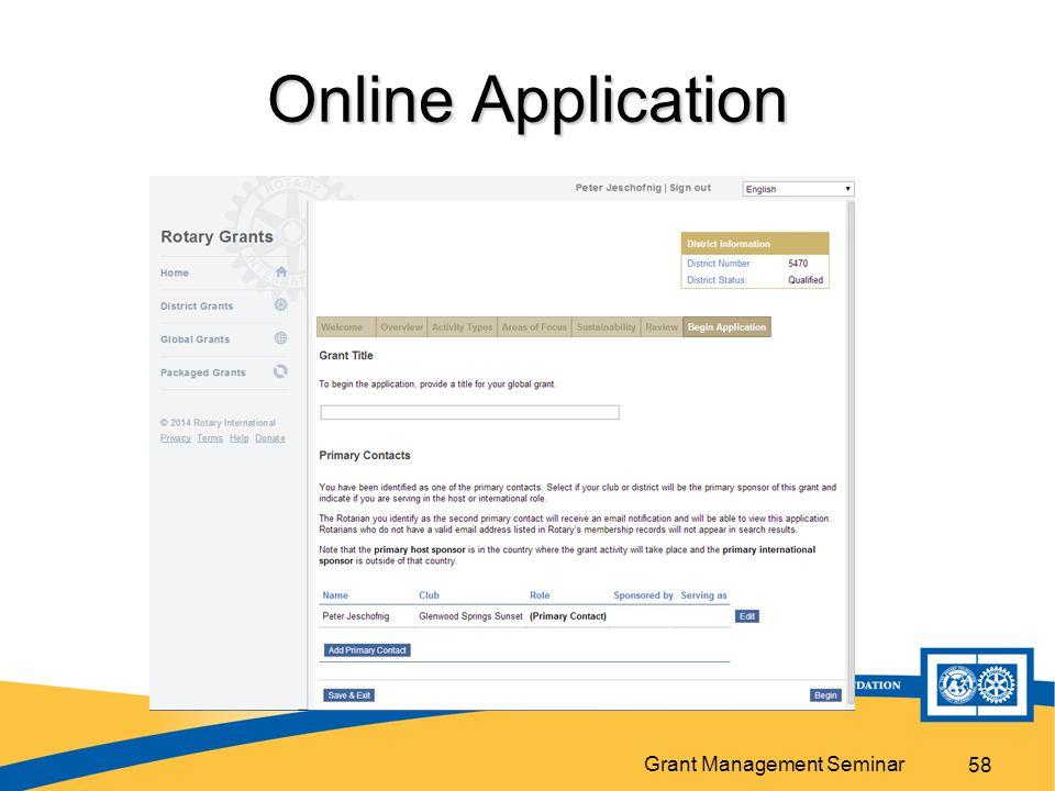 Grant Management Seminar Online Application 58