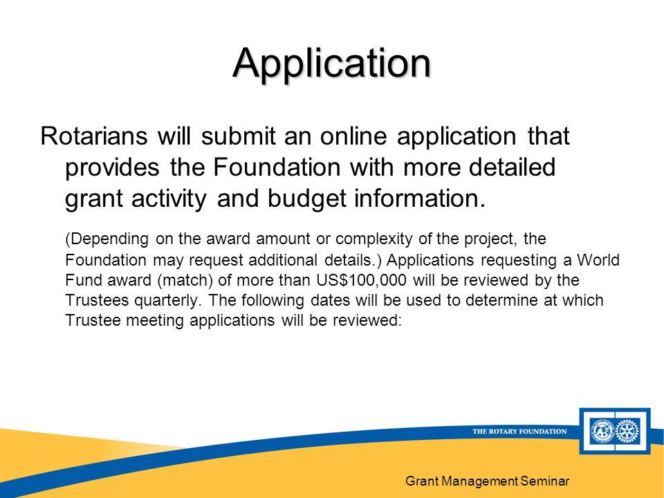 Grant Management Seminar 27 Application