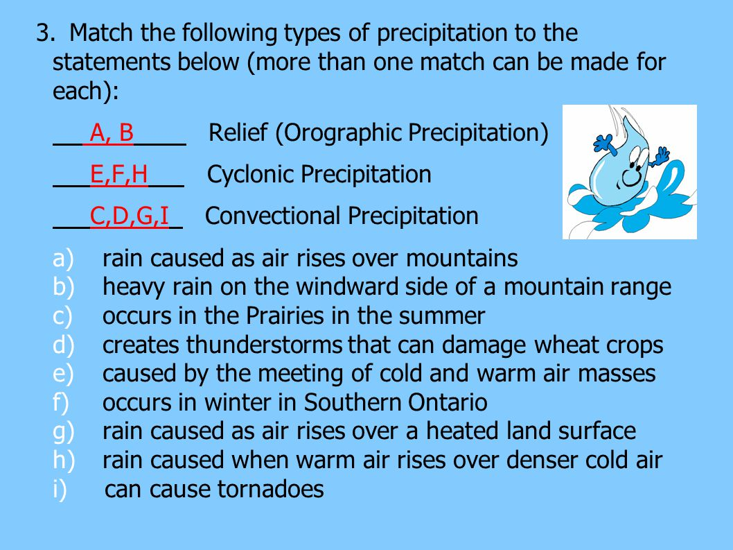 3.Match the following types of precipitation to the statements below (more than one match can be made for each): A, B Relief (Orographic Precipitation