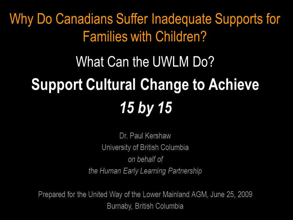 Why Do Canadians Suffer Inadequate Supports for Families with Children.
