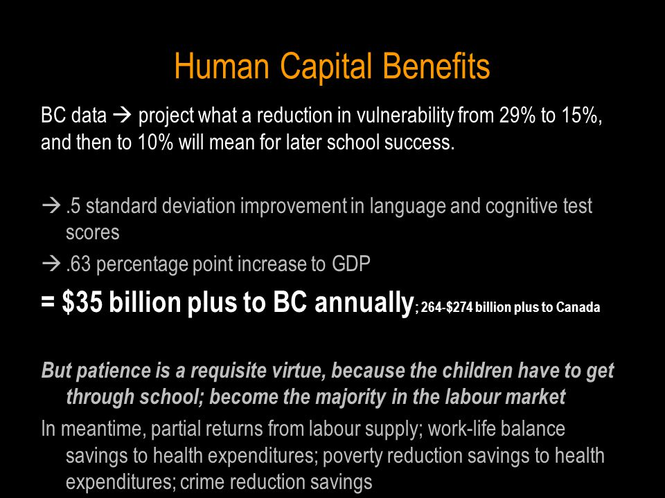 Human Capital Benefits BC data  project what a reduction in vulnerability from 29% to 15%, and then to 10% will mean for later school success.