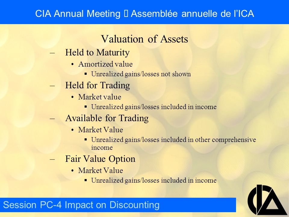 CIA Annual Meeting  Assemblée annuelle de l'ICA Considerations for the Valuation of Assets –Held to Maturity Significant penalty if any assets are sold  Penalty will discourage use of this class –Held for Trading Must be actively traded  Most assets will not qualify –Available for Trading All other assets  Easiest class to use –Fair Value Option Must demonstrate reduction in risk/mismatch  Requires a lot of work but is worth the effort Session PC-4 Impact on Discounting