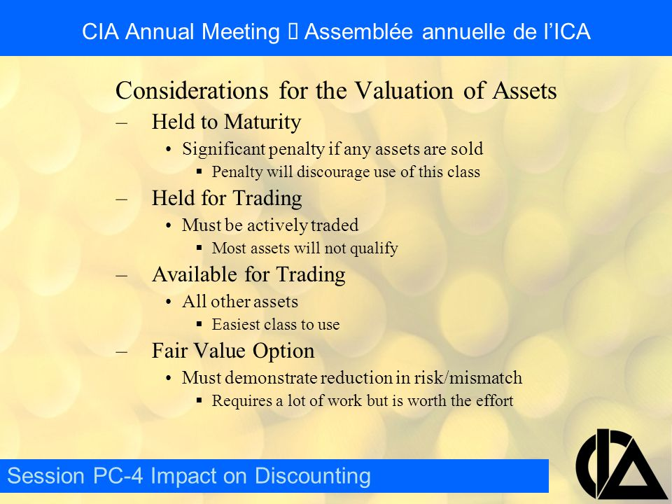 CIA Annual Meeting  Assemblée annuelle de l'ICA Questions/Comments Session PC-4 Impact on Discounting