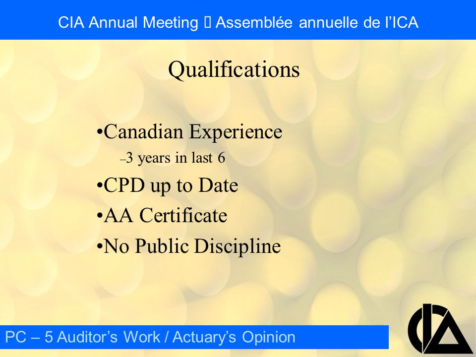 CIA Annual Meeting  Assemblée annuelle de l'ICA External Review Objectives – Confidence – Narrowing range – Quality – Educational PC – 5 Auditor's Work / Actuary's Opinion