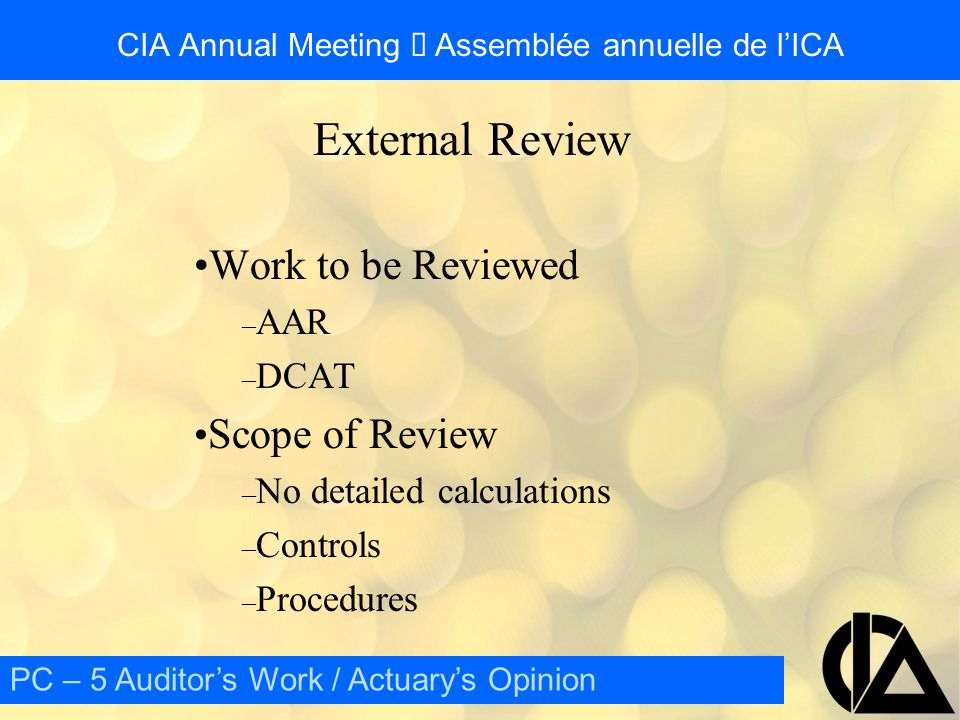 CIA Annual Meeting  Assemblée annuelle de l'ICA External Review Qualifications of External Reviewer – Same as AA – Sufficient experience Related to business of company – Independent Company AA – May be External Auditor PC – 5 Auditor's Work / Actuary's Opinion