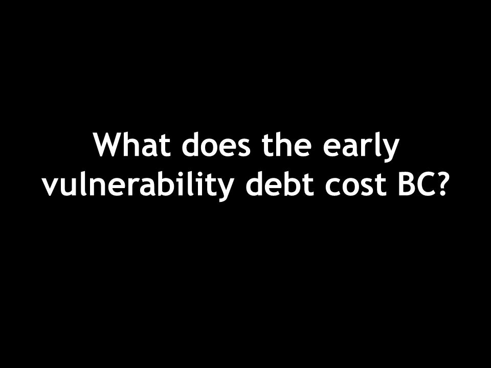 What does the early vulnerability debt cost BC?