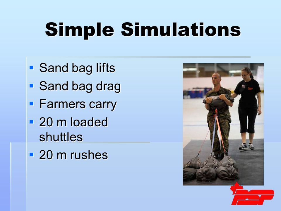 Simple Simulations  Sand bag lifts  Sand bag drag  Farmers carry  20 m loaded shuttles  20 m rushes