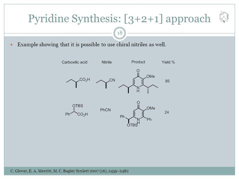Pyridine Synthesis: [3+2+1] approach Example showing that it is possible to use chiral nitriles as well. C. Glover, E. A. Merritt, M. C. Bagley Synlet