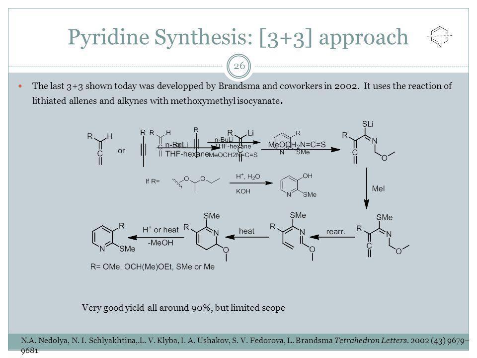 Pyridine Synthesis: [3+3] approach N.A. Nedolya, N.