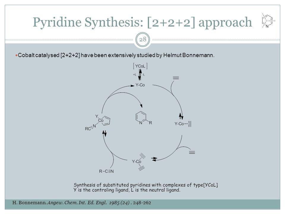 Pyridine Synthesis: [2+2+2] approach H. Bonnemann. Angew. Chem. Int. Ed. Engl. 1985 (24). 248-262 28 Cobalt catalysed [2+2+2] have been extensively st