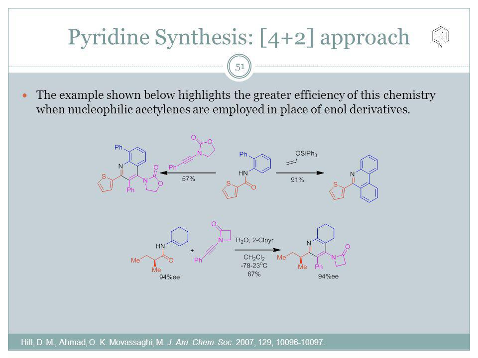 Pyridine Synthesis: [4+2] approach Hill, D. M., Ahmad, O. K. Movassaghi, M. J. Am. Chem. Soc. 2007, 129, 10096-10097. The example shown below highligh