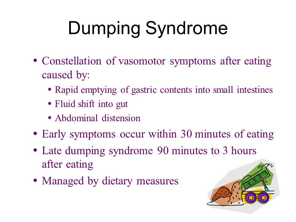 Dumping Syndrome  Constellation of vasomotor symptoms after eating caused by:  Rapid emptying of gastric contents into small intestines  Fluid shift into gut  Abdominal distension  Early symptoms occur within 30 minutes of eating  Late dumping syndrome 90 minutes to 3 hours after eating  Managed by dietary measures