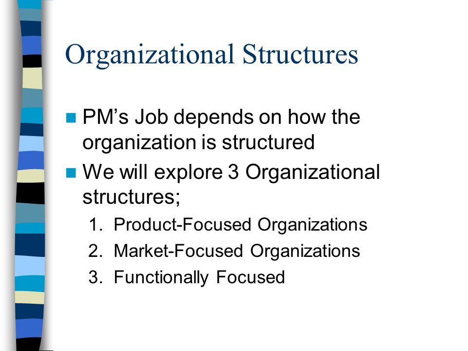 PM's Job depends on how the organization is structured We will explore 3 Organizational structures; 1.