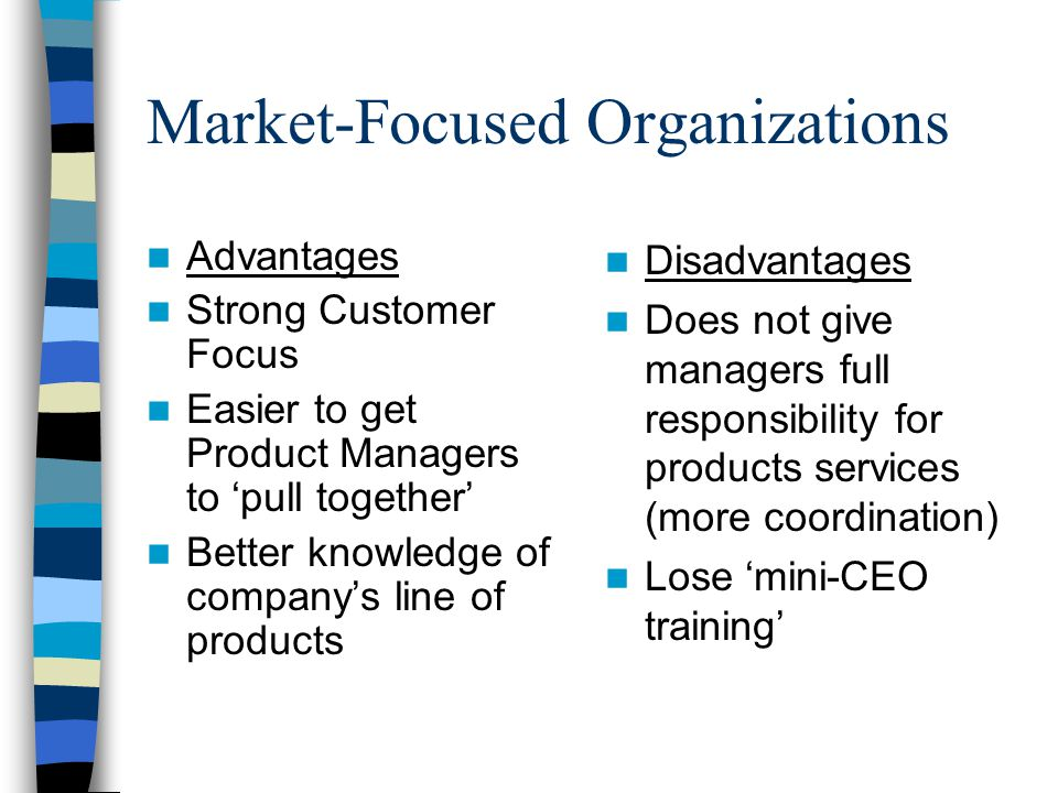 Market-Focused Organizations Advantages Strong Customer Focus Easier to get Product Managers to 'pull together' Better knowledge of company's line of products Disadvantages Does not give managers full responsibility for products services (more coordination) Lose 'mini-CEO training'