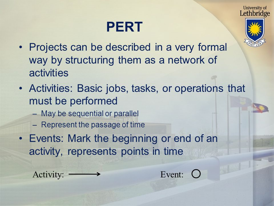 PERT Projects can be described in a very formal way by structuring them as a network of activities Activities: Basic jobs, tasks, or operations that must be performed –May be sequential or parallel –Represent the passage of time Events: Mark the beginning or end of an activity, represents points in time Activity:Event: