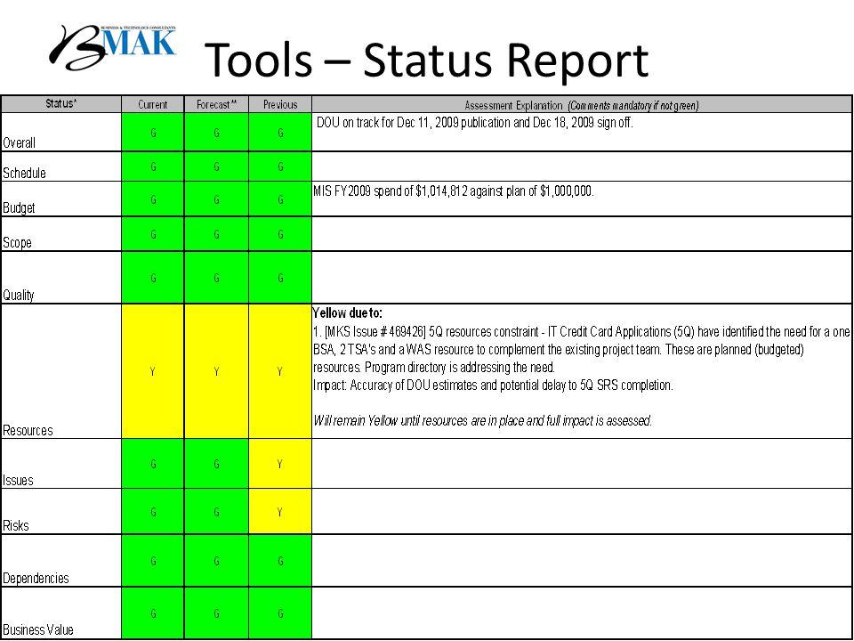 Tools – Status Report