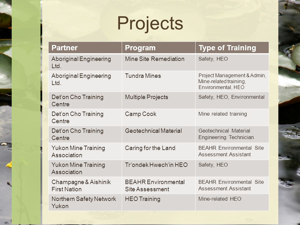 Projects PartnerProgramType of Training Aboriginal Engineering Ltd.