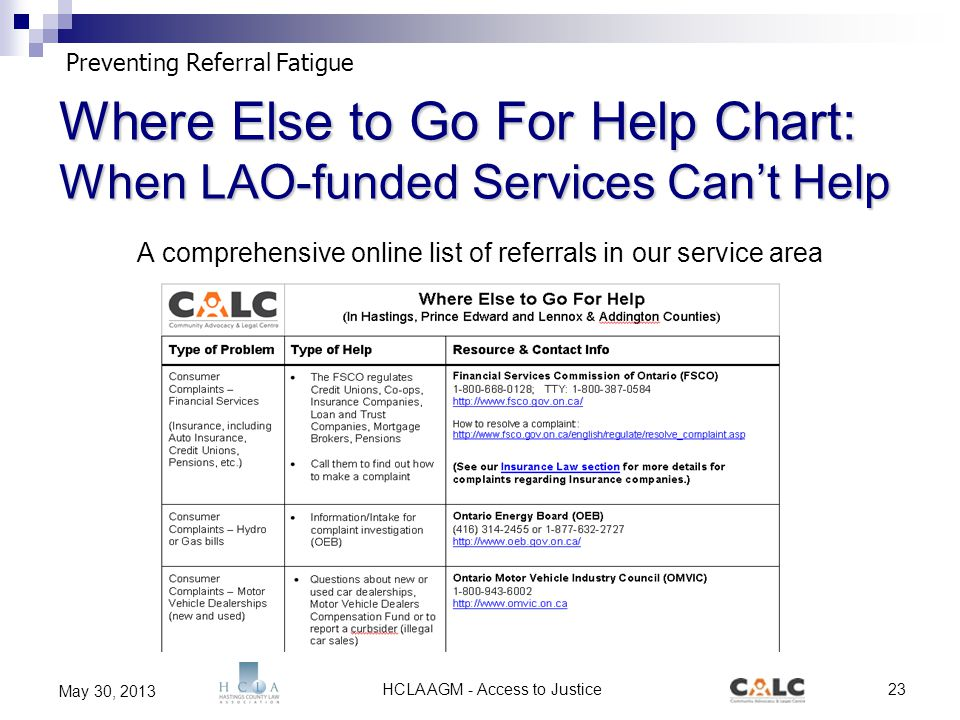 HCLA AGM - Access to Justice23 May 30, 2013 Where Else to Go For Help Chart: When LAO-funded Services Can't Help A comprehensive online list of referrals in our service area Preventing Referral Fatigue