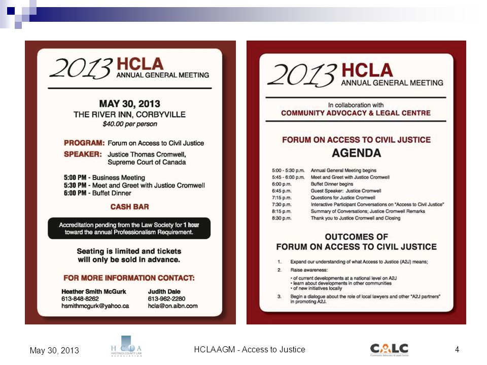 HCLA AGM - Access to Justice4 May 30, 2013