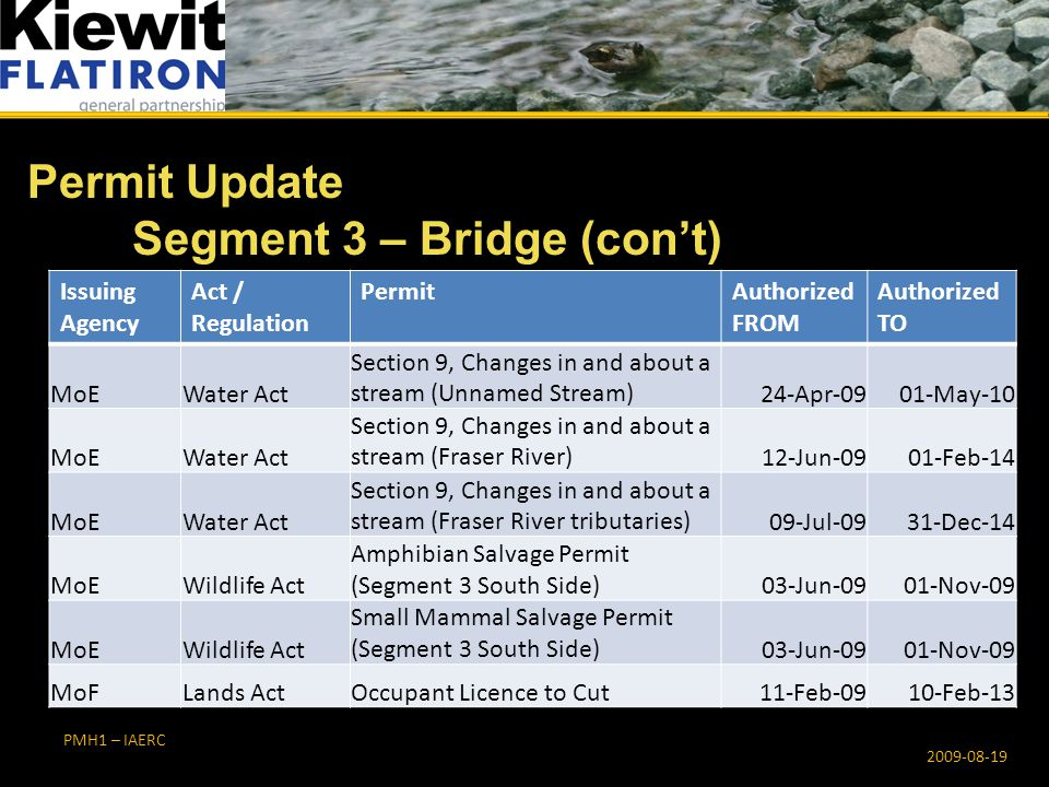 PMH1 – IAERC Permit Update Segment 3 – Bridge (con't) 2009-08-19 Issuing Agency Act / Regulation PermitAuthorized FROM Authorized TO MoEWater Act Section 9, Changes in and about a stream (Unnamed Stream)24-Apr-0901-May-10 MoEWater Act Section 9, Changes in and about a stream (Fraser River)12-Jun-0901-Feb-14 MoEWater Act Section 9, Changes in and about a stream (Fraser River tributaries)09-Jul-0931-Dec-14 MoEWildlife Act Amphibian Salvage Permit (Segment 3 South Side) 03-Jun-0901-Nov-09 MoEWildlife Act Small Mammal Salvage Permit (Segment 3 South Side) 03-Jun-0901-Nov-09 MoFLands ActOccupant Licence to Cut11-Feb-0910-Feb-13