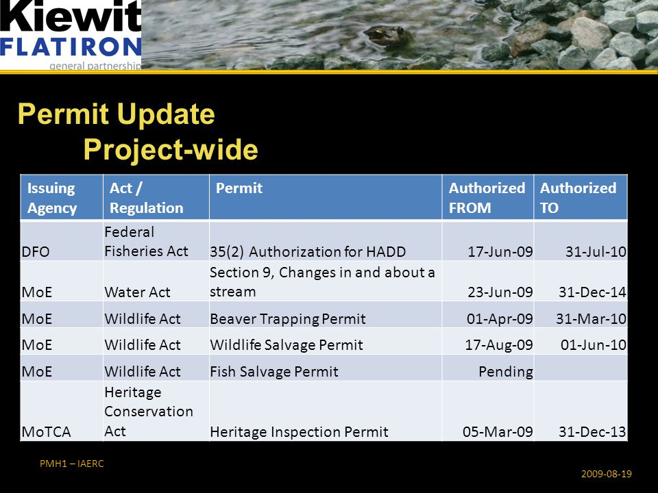 PMH1 – IAERC Permit Update Project-wide 2009-08-19 Issuing Agency Act / Regulation PermitAuthorized FROM Authorized TO DFO Federal Fisheries Act35(2) Authorization for HADD17-Jun-0931-Jul-10 MoEWater Act Section 9, Changes in and about a stream23-Jun-0931-Dec-14 MoEWildlife ActBeaver Trapping Permit01-Apr-0931-Mar-10 MoEWildlife ActWildlife Salvage Permit17-Aug-0901-Jun-10 MoEWildlife ActFish Salvage PermitPending MoTCA Heritage Conservation ActHeritage Inspection Permit05-Mar-0931-Dec-13