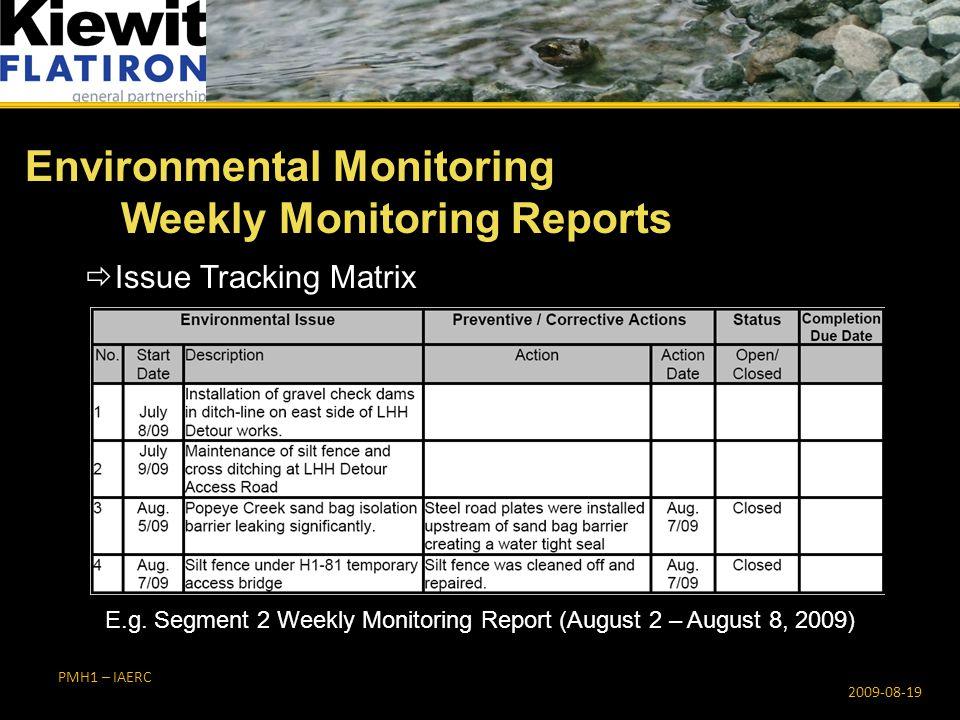 PMH1 – IAERC 2009-08-19  Issue Tracking Matrix E.g.