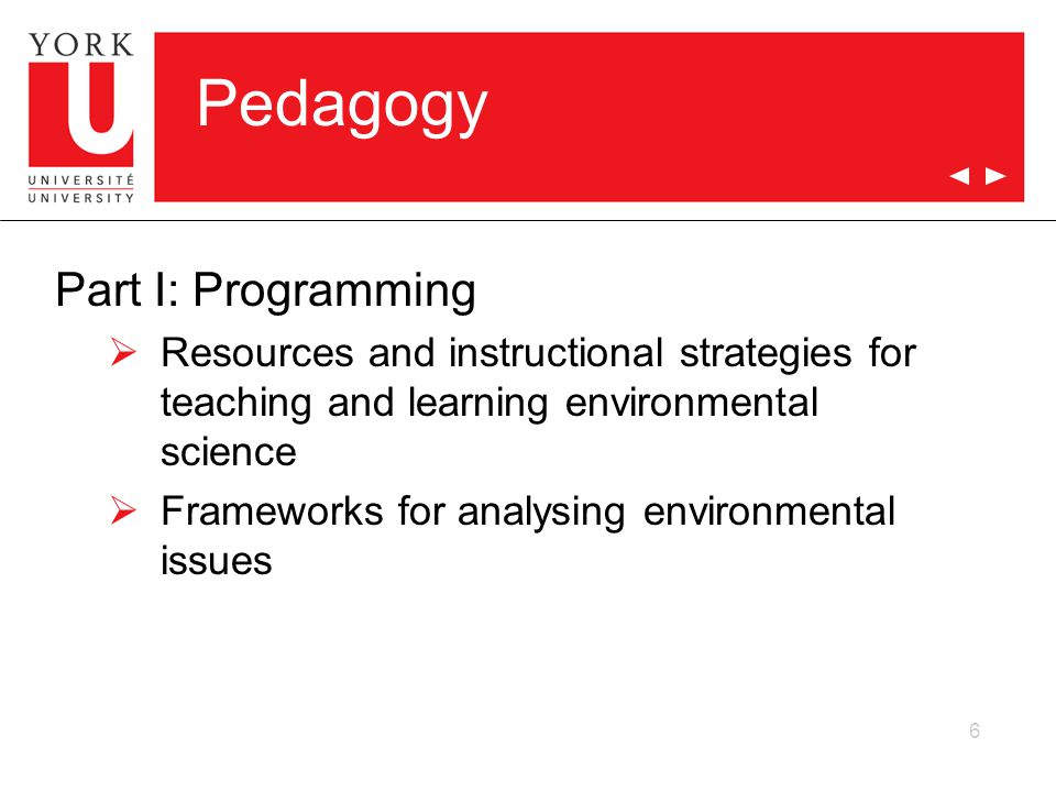 Pedagogy Part I: Programming  Resources and instructional strategies for teaching and learning environmental science  Frameworks for analysing envir