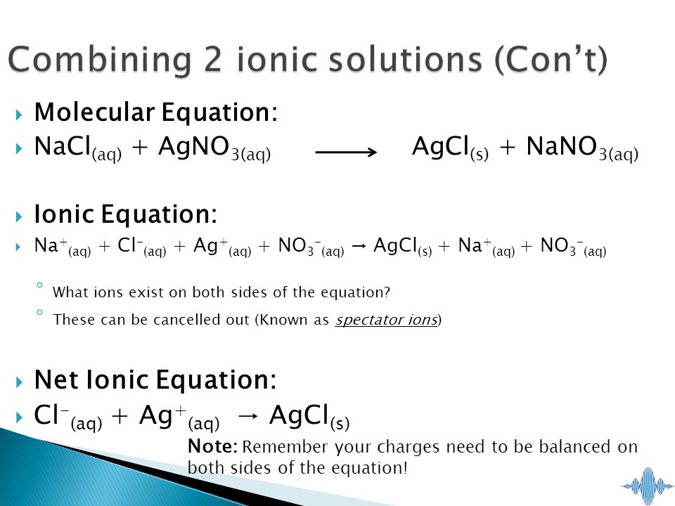  Molecular Equation:  NaCl (aq) + AgNO 3(aq) AgCl (s) + NaNO 3(aq)  Ionic Equation:  Na + (aq) + Cl - (aq) + Ag + (aq) + NO 3 - (aq) → AgCl (s) + Na + (aq) + NO 3 - (aq) ◦ What ions exist on both sides of the equation.