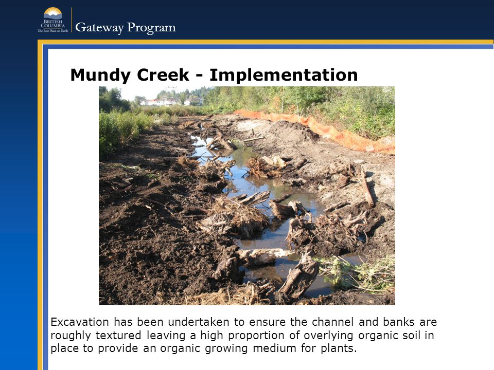 Gateway Program Mundy Creek - Implementation Excavation has been undertaken to ensure the channel and banks are roughly textured leaving a high proportion of overlying organic soil in place to provide an organic growing medium for plants.