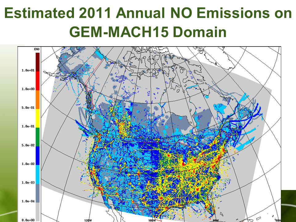 Estimated 2011 Annual NO Emissions on GEM-MACH15 Domain