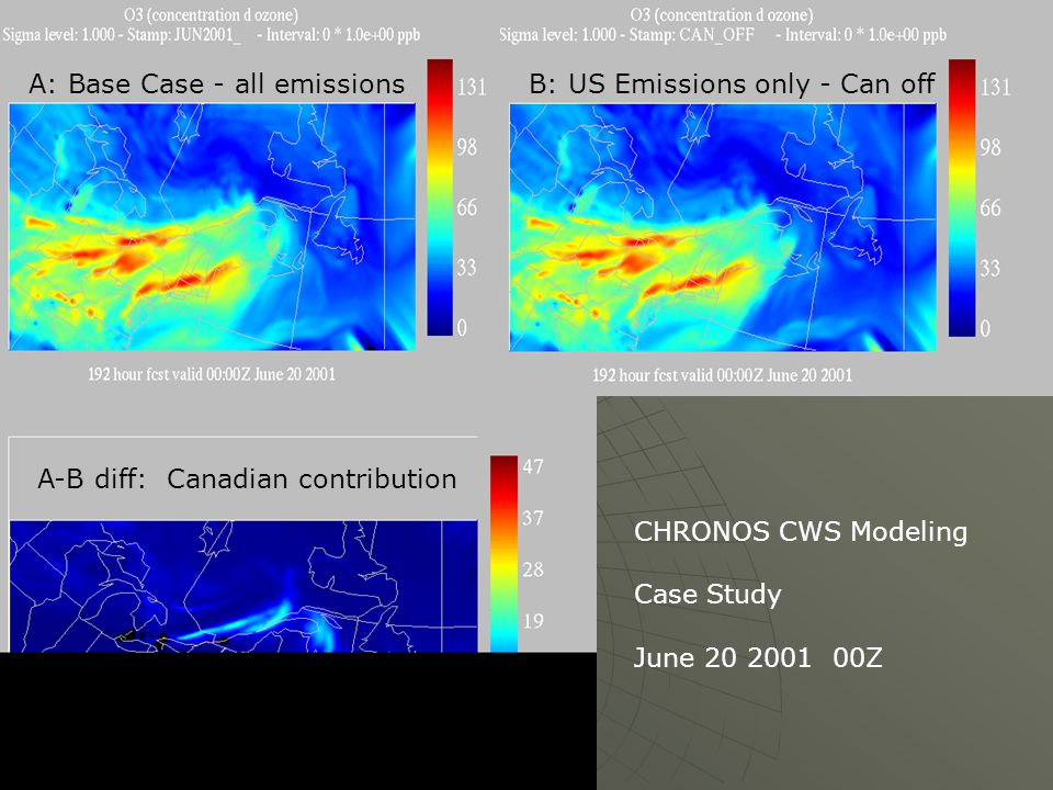 CHRONOS CWS Modeling Case Study June 20 2001 00Z A: Base Case - all emissionsB: US Emissions only - Can off A-B diff: Canadian contribution