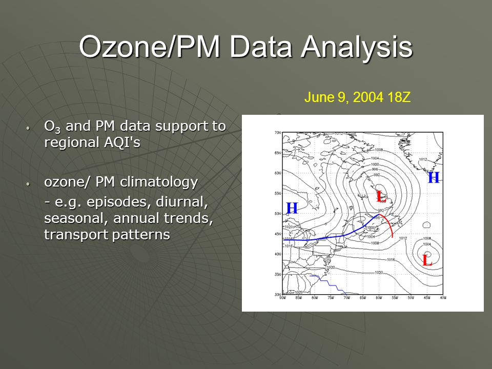 Ozone/PM Data Analysis O 3 and PM data support to regional AQI s O 3 and PM data support to regional AQI s ozone/ PM climatology ozone/ PM climatology - e.g.
