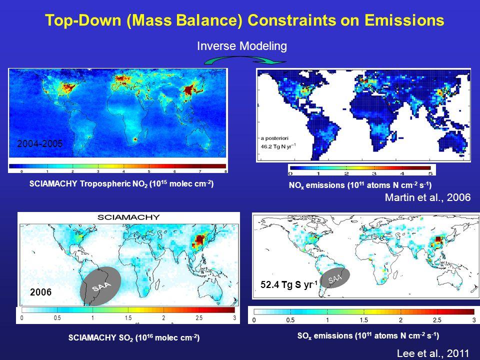 Top-Down (Mass Balance) Constraints on Emissions SCIAMACHY Tropospheric NO 2 (10 15 molec cm -2 ) NO x emissions (10 11 atoms N cm -2 s -1 ) Lee et al., 2011 2004-2005 Inverse Modeling SO x emissions (10 11 atoms N cm -2 s -1 ) SCIAMACHY SO 2 (10 16 molec cm -2 ) 2006 52.4 Tg S yr -1 Martin et al., 2006