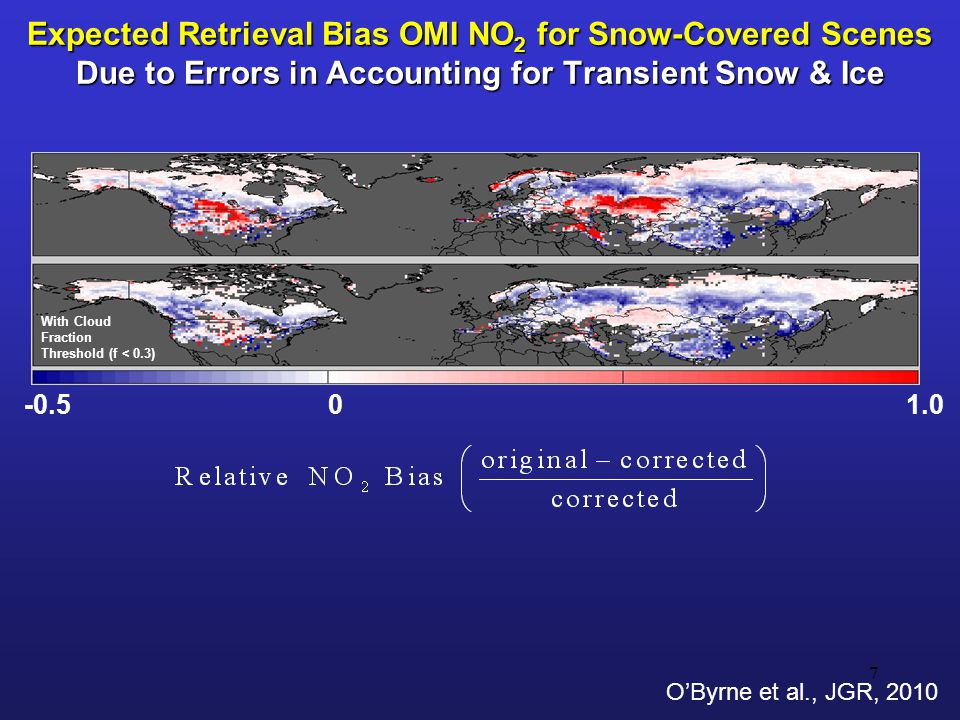 Expected Retrieval Bias OMI NO 2 for Snow-Covered Scenes Due to Errors in Accounting for Transient Snow & Ice 7 With Cloud Fraction Threshold (f < 0.3) -0.501.0 O'Byrne et al., JGR, 2010