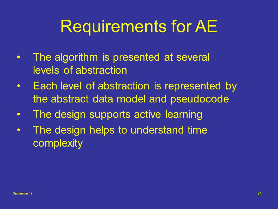 September 12 13 Requirements for AE The algorithm is presented at several levels of abstraction Each level of abstraction is represented by the abstra