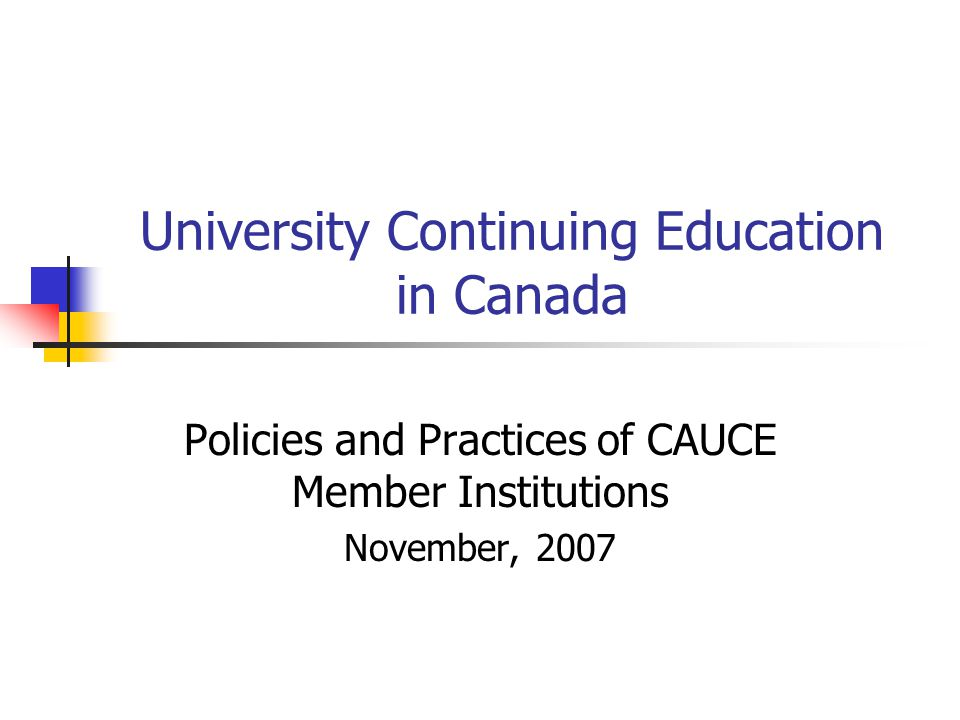 Prior Research Continuing Education in Canadian Universities: Policies and Practices, 1985 ( W.