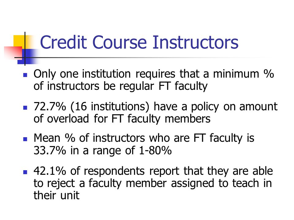Credit Course Instructors Only one institution requires that a minimum % of instructors be regular FT faculty 72.7% (16 institutions) have a policy on amount of overload for FT faculty members Mean % of instructors who are FT faculty is 33.7% in a range of 1-80% 42.1% of respondents report that they are able to reject a faculty member assigned to teach in their unit