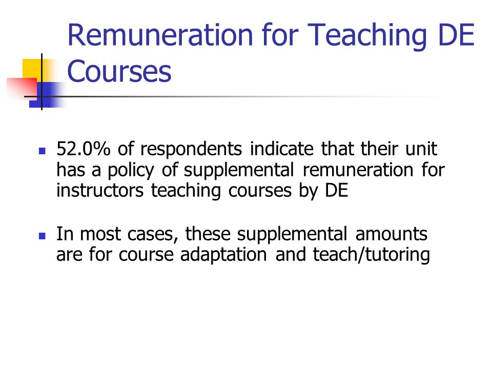 Remuneration for Teaching DE Courses 52.0% of respondents indicate that their unit has a policy of supplemental remuneration for instructors teaching courses by DE In most cases, these supplemental amounts are for course adaptation and teach/tutoring