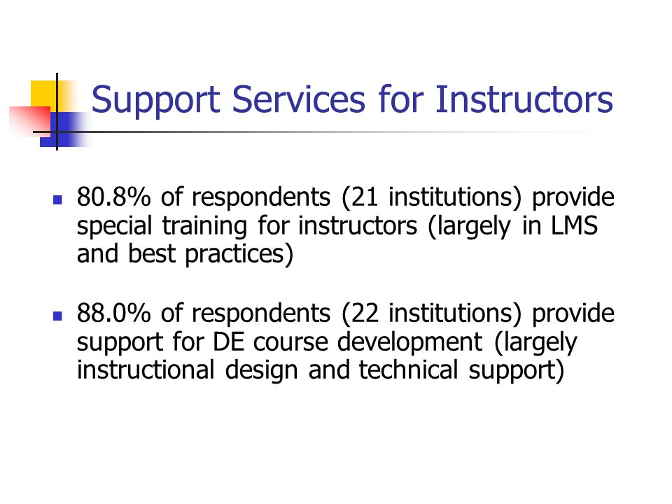 Support Services for Instructors 80.8% of respondents (21 institutions) provide special training for instructors (largely in LMS and best practices) 8