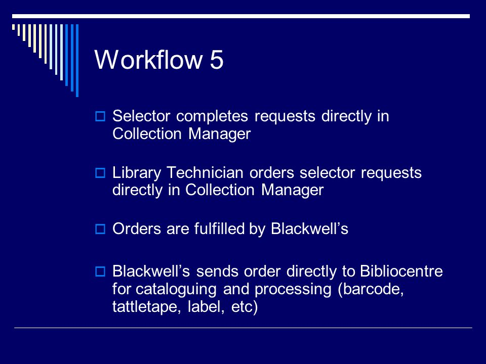 Workflow 5  Selector completes requests directly in Collection Manager  Library Technician orders selector requests directly in Collection Manager  Orders are fulfilled by Blackwell's  Blackwell's sends order directly to Bibliocentre for cataloguing and processing (barcode, tattletape, label, etc)