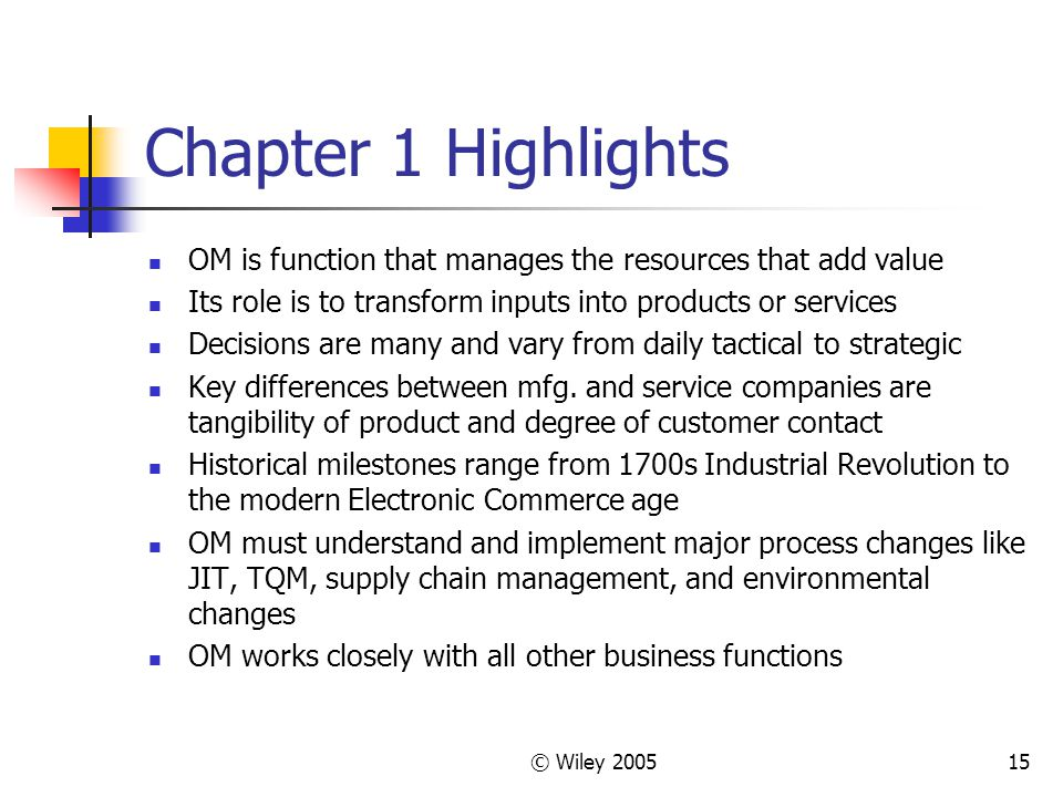 © Wiley 200515 Chapter 1 Highlights OM is function that manages the resources that add value Its role is to transform inputs into products or services