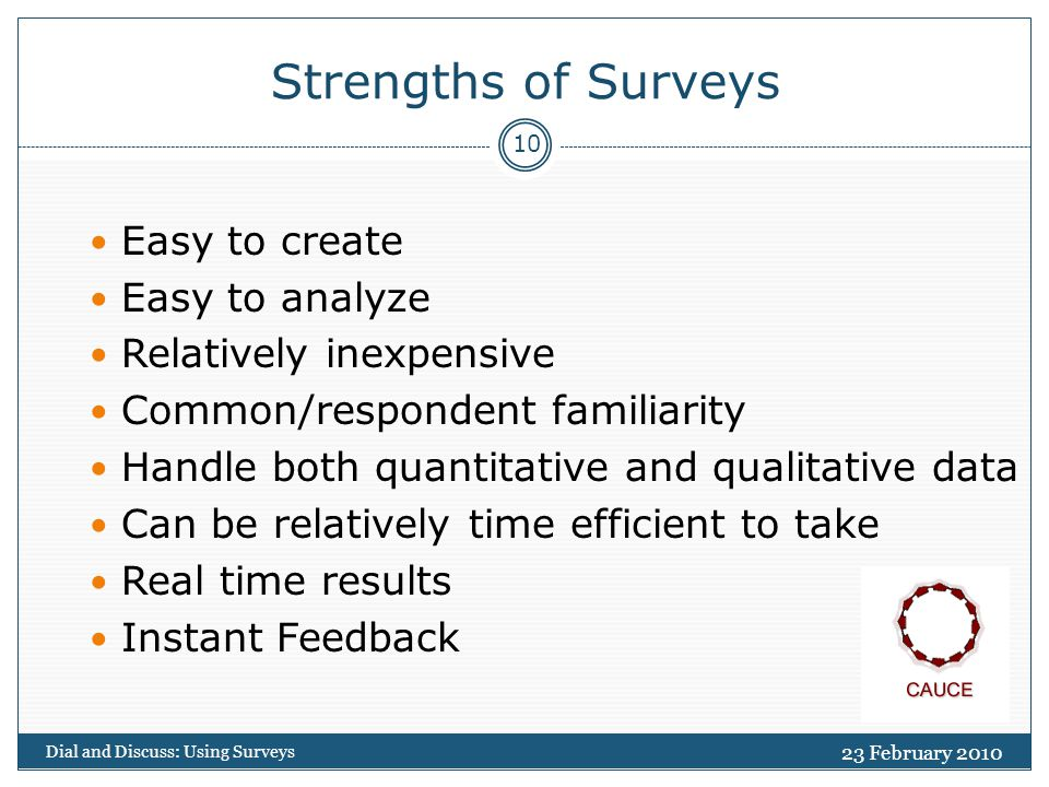 23 February 2010 Dial and Discuss: Using Surveys 10 Strengths of Surveys Easy to create Easy to analyze Relatively inexpensive Common/respondent familiarity Handle both quantitative and qualitative data Can be relatively time efficient to take Real time results Instant Feedback