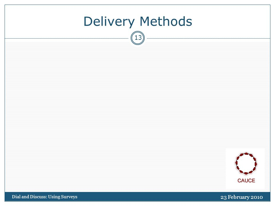 Delivery Methods 23 February 2010 Dial and Discuss: Using Surveys 13