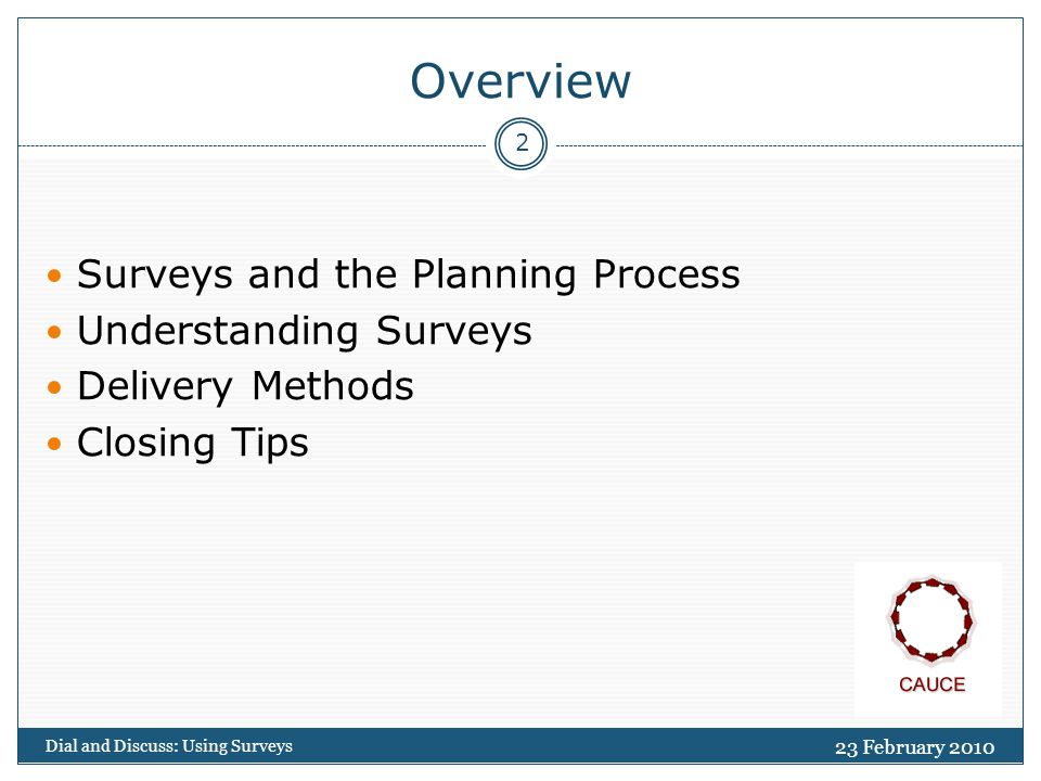 Overview Surveys and the Planning Process Understanding Surveys Delivery Methods Closing Tips 23 February Dial and Discuss: Using Surveys