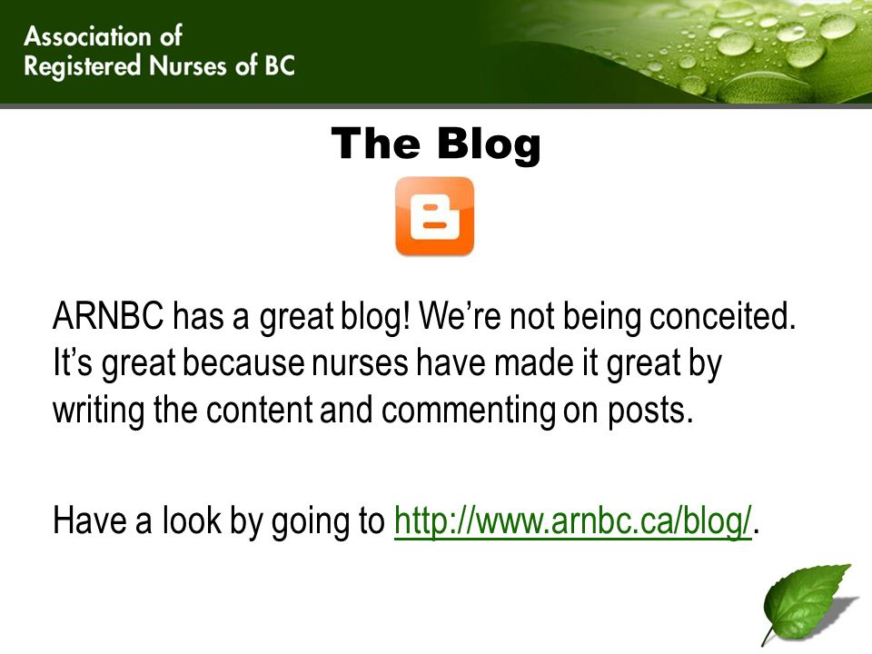 The Blog ARNBC has a great blog. We're not being conceited.